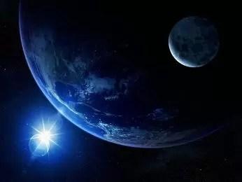 tierra luna y sol azul