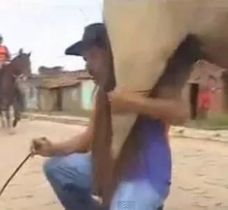 Lo que pasa cuando un borracho intenta montarse en un caballo (video)