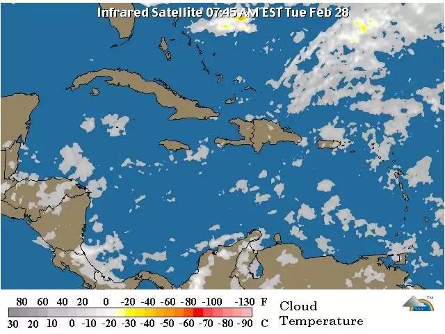 Pocas lluvias hasta el jueves en República Dominicana