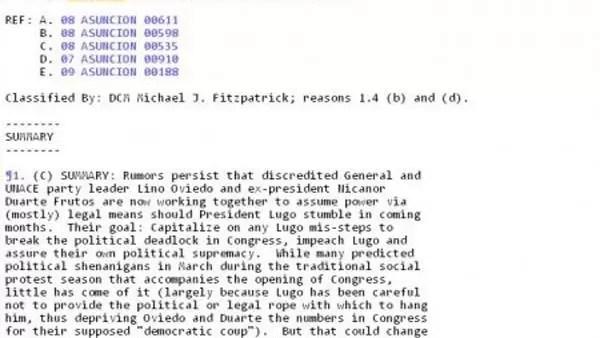Wikileaks: La Destitución de Lugo se planeaba desde hace años