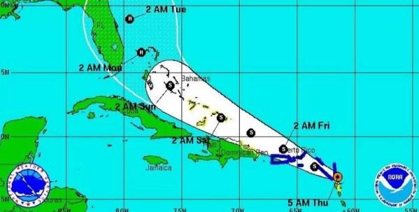 Erika en el Caribe