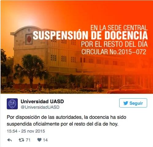 UASD suspende docencia por hechos de violencia en el entorno de la sede
