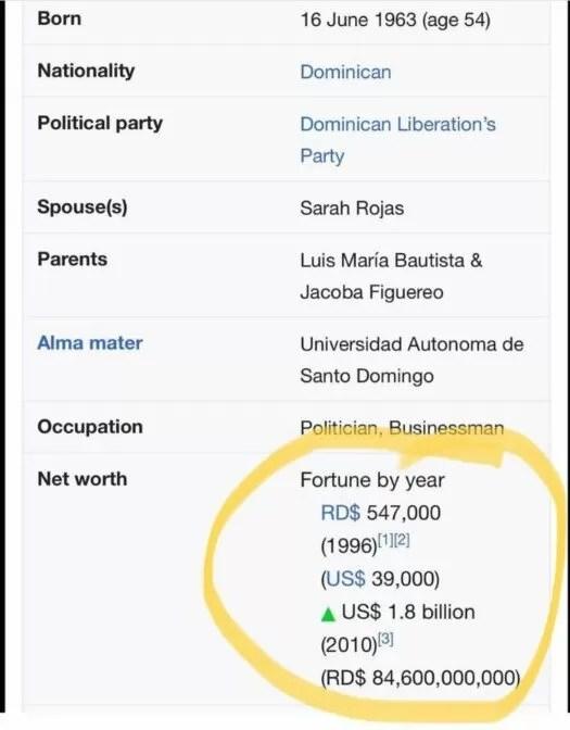 Fortuna de FC3A9lix Bautista segC3BAn gobierno de EEUU 700x896