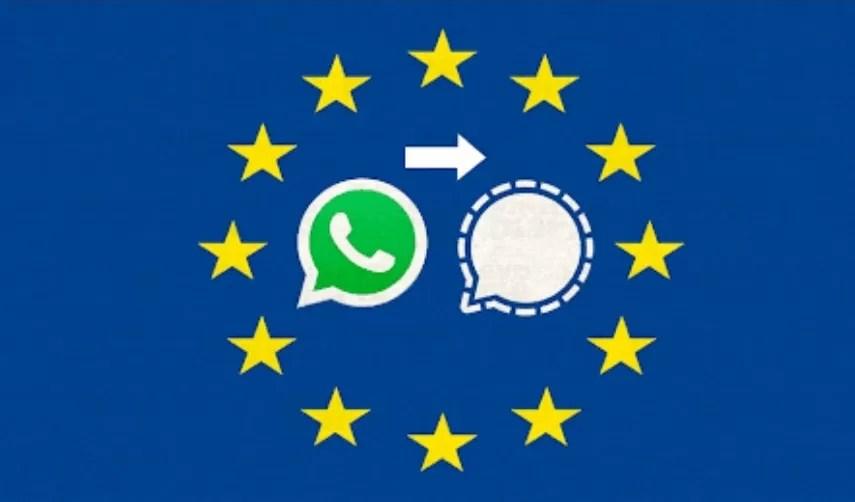 Instituciones de la Unión Europea cambian de WhatsApp a Signal