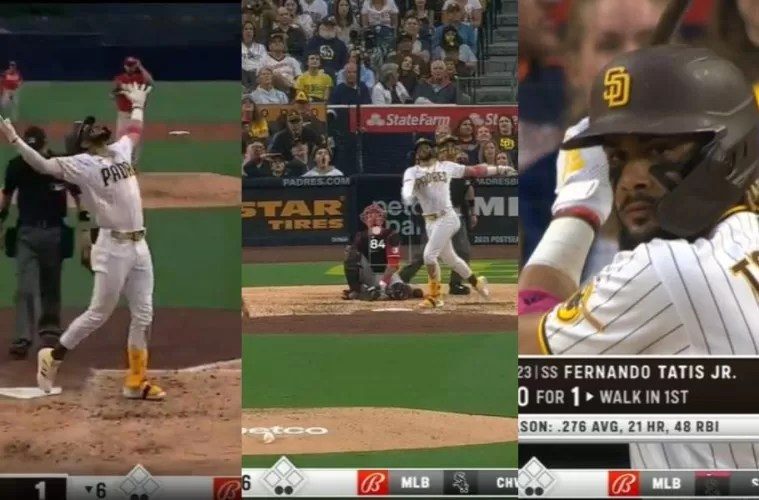 Video: Fernando Tatis Jr. pega jonrón 22 y empata con Vladi Guerrero Jr.
