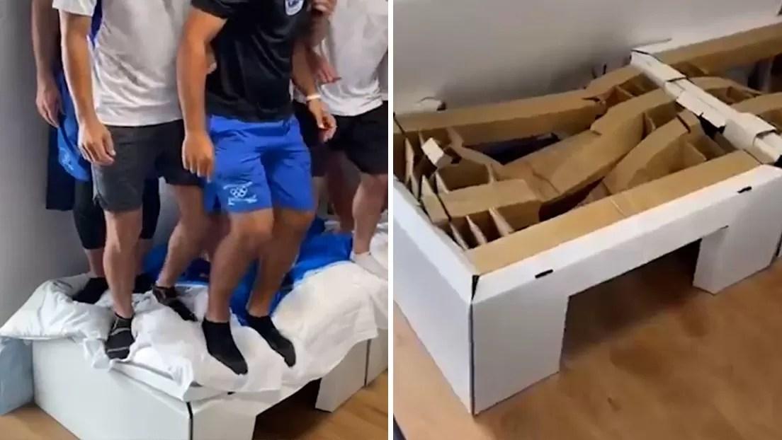 VIDEO: Atletas rompen una cama 'antisexo' de la Villa Olímpica saltando sobre ella