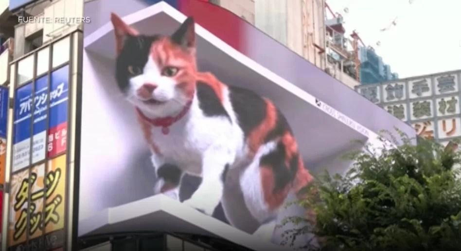El gato en 3D que tiene obnubilados a los habitantes de Tokio