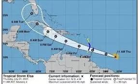 Tormenta tropical Elsa se acerca a las Antillas Menores