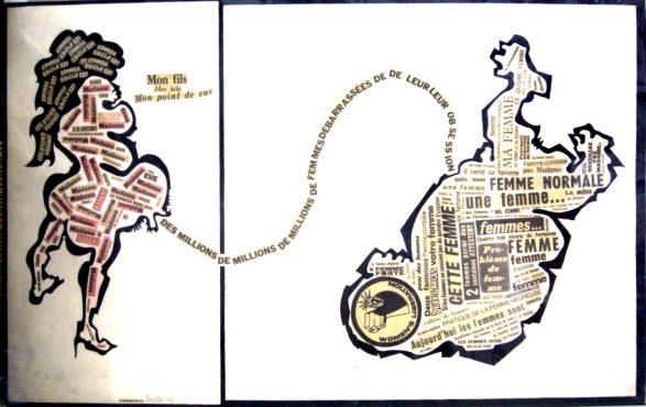 Mon fils, mon bébé, mon point de vue - 1971 - papiers collage de mots (58 x 92 cm)