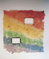 La Peinture en Patchwork, Fragement no 650 - 1994 tissu (205 x 256 cm) 2 fenêtres châssis (46 x 38 cm)