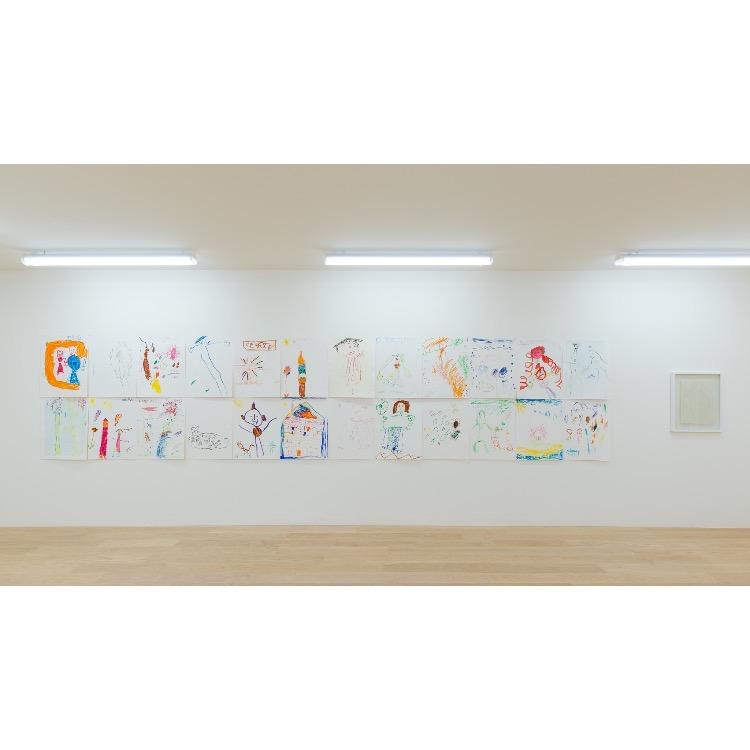 """Vue de l'exposition """"Marcel Alocco : Origine Nice. Tome 2 : fragments de la Peinture en Patchwork (depuis 1974)"""" avec : """"Mes enfances"""", 2006. Photographie : © Grégory Copitet - Enseigne des Oudin"""