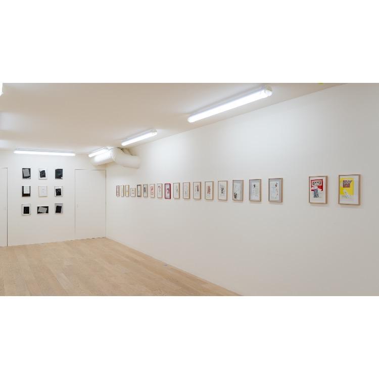 Vue de l'exposition de Marie Chamant «Javelles – Jachères – Polygraphie», avec de droite à gauche: «Philosophes en paysage de lettre», 2004, «D'après des estampes chinoises du nouvel an», 2009. Photographie: © Grégory Copitet – Enseigne des Oudin