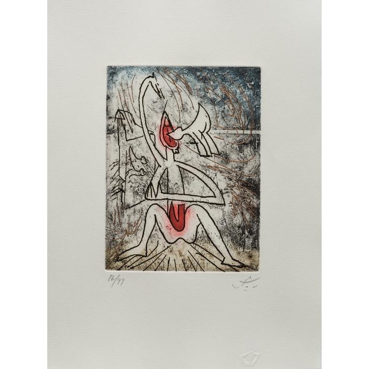 Roberto Matta, gravure  numérotée et signée par l'artiste. Tirage à 120 exemplaires numérotés sur papier vélin d'Arches. [Paris : Espace Latino-Américain, 1985]. Photographie : Véronique Huyghe