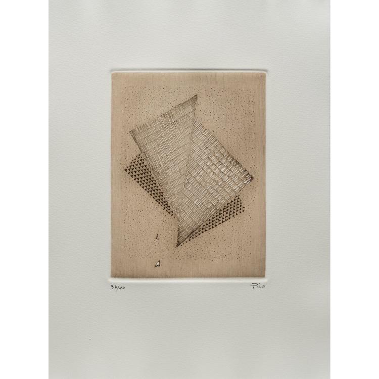 Arthur Luiz Piza, gravure  numérotée et signée par l'artiste. Tirage à 120 exemplaires numérotés sur papier vélin d'Arches. [Paris : Espace Latino-Américain, 1985]. Photographie : Véronique Huyghe