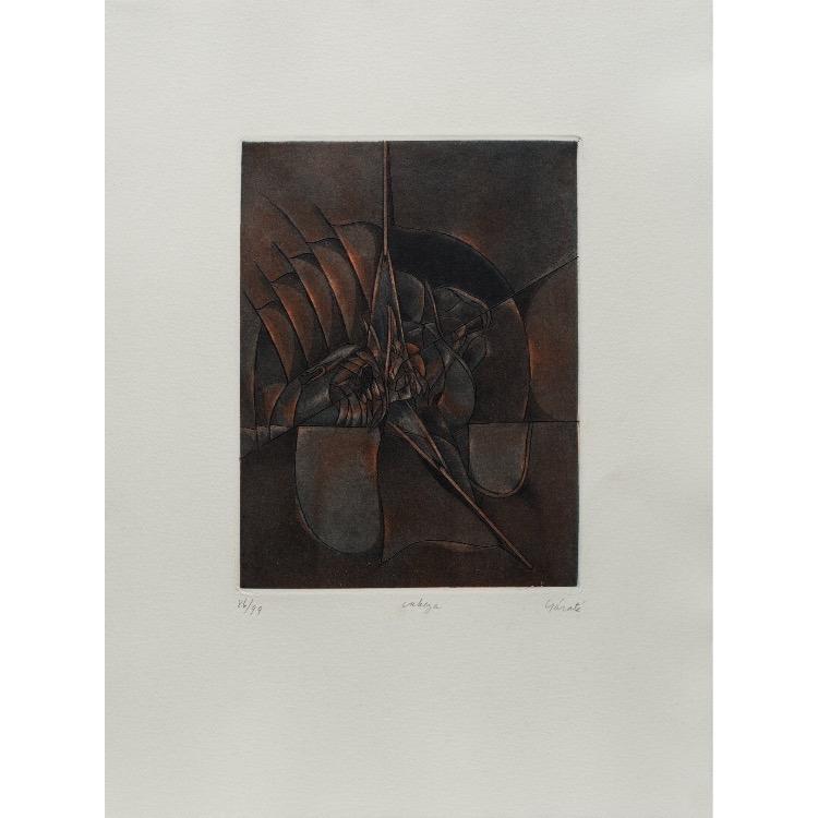 Manuel Ortiz de Zaraté, gravure  numérotée et signée par l'artiste. Tirage à 120 exemplaires numérotés sur papier vélin d'Arches. [Paris : Espace Latino-Américain, 1985]. Photographie : Véronique Huyghe