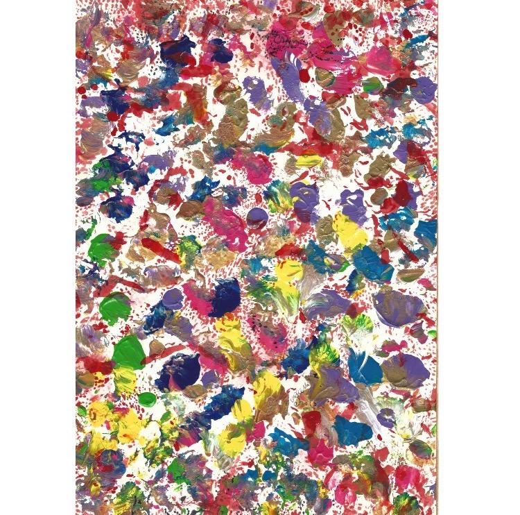 Henri Ughetto, Constellation et prolifération de pattes du chat Charlemagne, 3000 gouttes de sang, d'une série de 22 dessins sur papier avec l'aide du chat Charlemagne et de Dominique Ughetto, 2009-2010. Photo: Enseigne des Oudin.