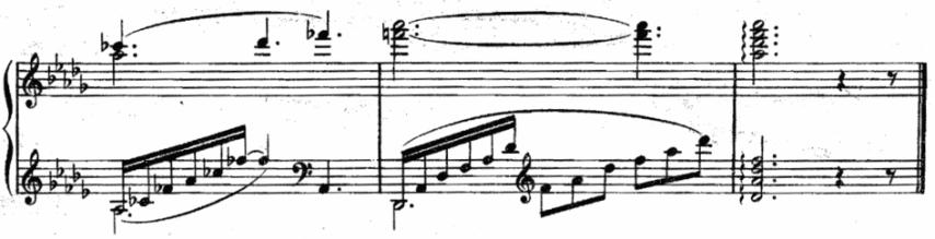 """Extrait d'une partition montrant un accord de fin emprunté de la Clé de Sol et de la Clé de Fa pour l'article """"Comment Développer Le Déchiffrage Au Piano 2/2"""""""