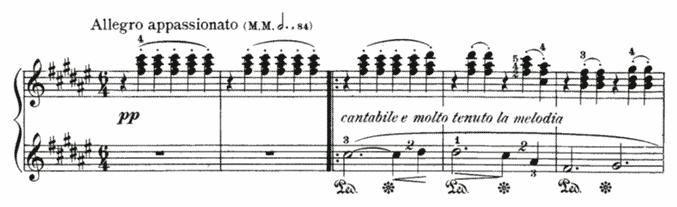 """Extrait d'une partition montrant des accords joués en Clé de Sol pour l'article """"Comment Développer Le Déchiffrage Au Piano 2/2"""""""