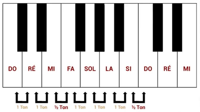 """Position des demi-tons dans une gamme pour l'article """"Le Demi-Ton En Musique"""""""