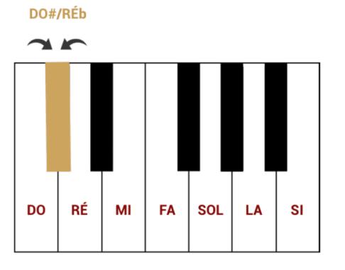 """Do# et Réb en tant que notes enharmoniques pour l'article """"Les Altérations En Musique"""""""