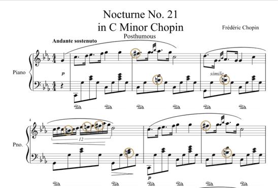 """Partition Nocturne No. 21 en Do mineur de Chopin avec altérations accidentelles entourées pour l'article """"Les Altérations En Musique"""""""