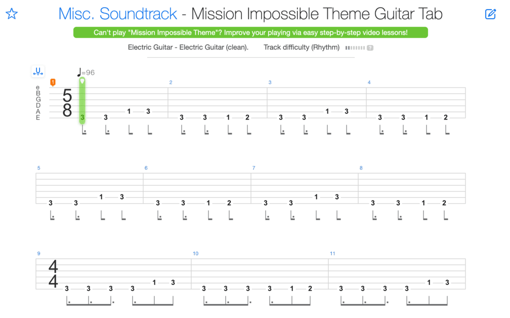 "Extrait de la tablature de Mission: Impossible Theme pour l'article ""La Signature Rythmique"""