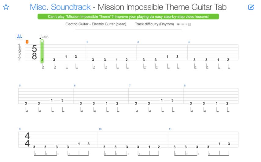 """Extrait de la tablature de Mission: Impossible Theme pour l'article """"La Signature Rythmique"""""""