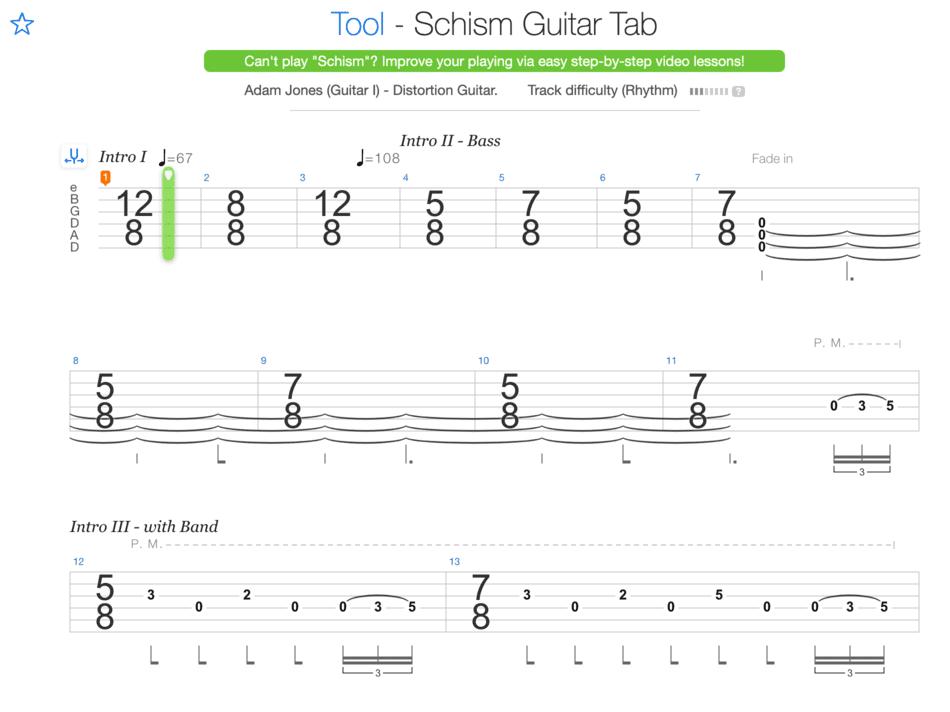 """Extrait de la tablature de Schism de Tool pour l'article """"La Signature Rythmique"""""""