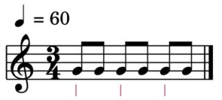"""Exemple de schéma rythmique en binaire 3/4 pour l'article """"La mesure en musique"""""""