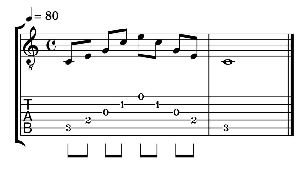 """Accord de Do Majeur joué en arpèges pour l'article """"Les Arpèges À La Guitare"""""""