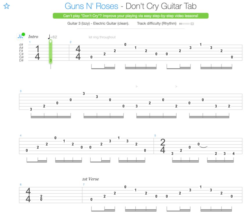 """Tablature de Don't Cry des Guns N'Roses pour l'article """"Apprendre À Jouer De La Guitare Seul"""""""