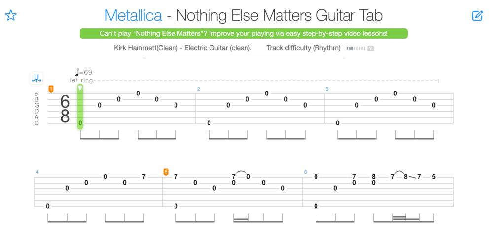 """Tablature de Nothing Else Matters de Metallica pour l'article """"Apprendre À Jouer De La Guitare Seul"""""""