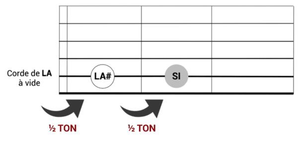 """Fonctionnement du demi-ton sur un manche de guitare pour l'article """"Les Intervalles En Musique"""""""