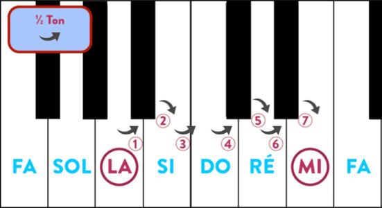 """Calcul du nombre de demi-tons entre le La et Mi pour l'article """"Les Accords Barrés À La Guitare"""""""