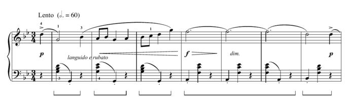 """Exemple d'une pédale représentée par un trait pour l'article """"Les Pédales Du Piano"""""""