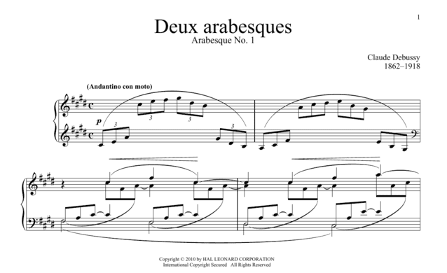 """Extrait de l'intro de l'Arabesque de Debussy pour l'article """"Tuto Piano Facile"""""""
