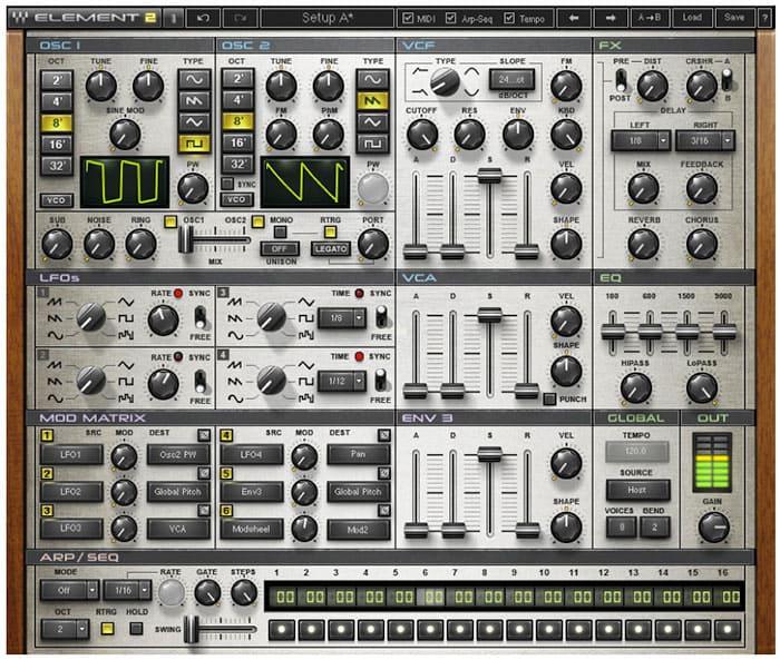 """Interface du synthétiseur Element 2.0 Virtual Analog Synth pour l'article """"Bien Choisir Son Clavier"""""""