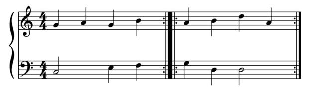 """Exemple de barres de reprise pour l'article """"la mesure en musique"""""""