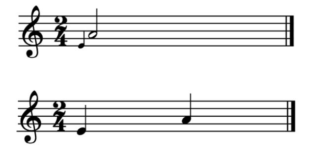 """Exemple d'une appogiature longue noire sur blanche pour l'article """"l'appogiature en musique"""""""