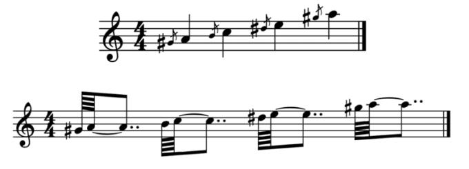 """Exemples d'acciaccatures sous 2 formes pour l'article """"l'appogiature en musique"""""""