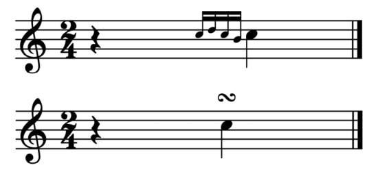 """Exemple d'un gruppetto pour l'article """"l'appogiature en musique"""""""