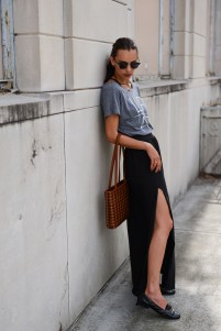 Black Loafers and Woven Handbag