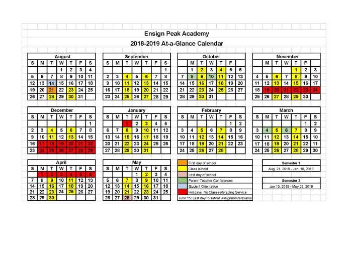 Ensign Peak Academy 2018-2019 Class Calendar - 2018-2019