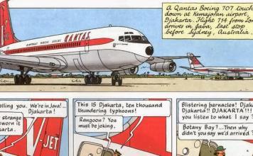 Cuplikan cerita Tintin mendarat di Bandara Kemajoran dalam komik berjudul Flight 714