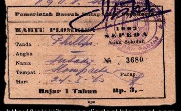 Kartu Plombir Bukti Pembayaran Pajak Sepeda Onthel Tahun 1963