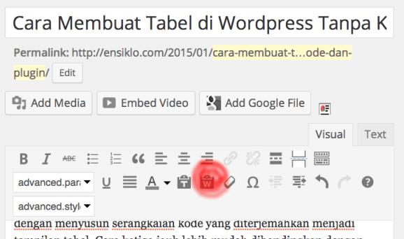 Cara membuat tabel pada wordpress