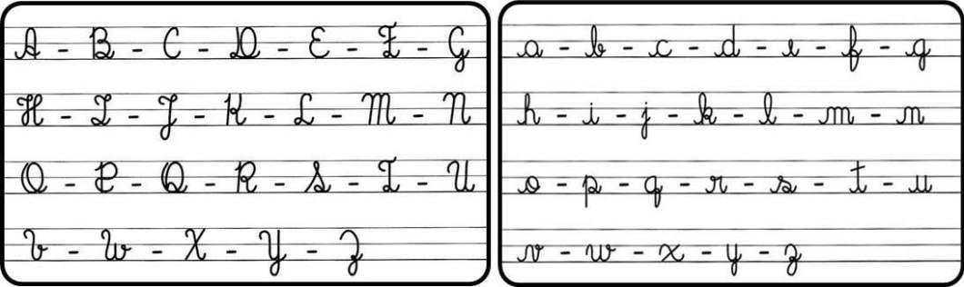 alfabeto cursivo maiusculo minusculo a mao