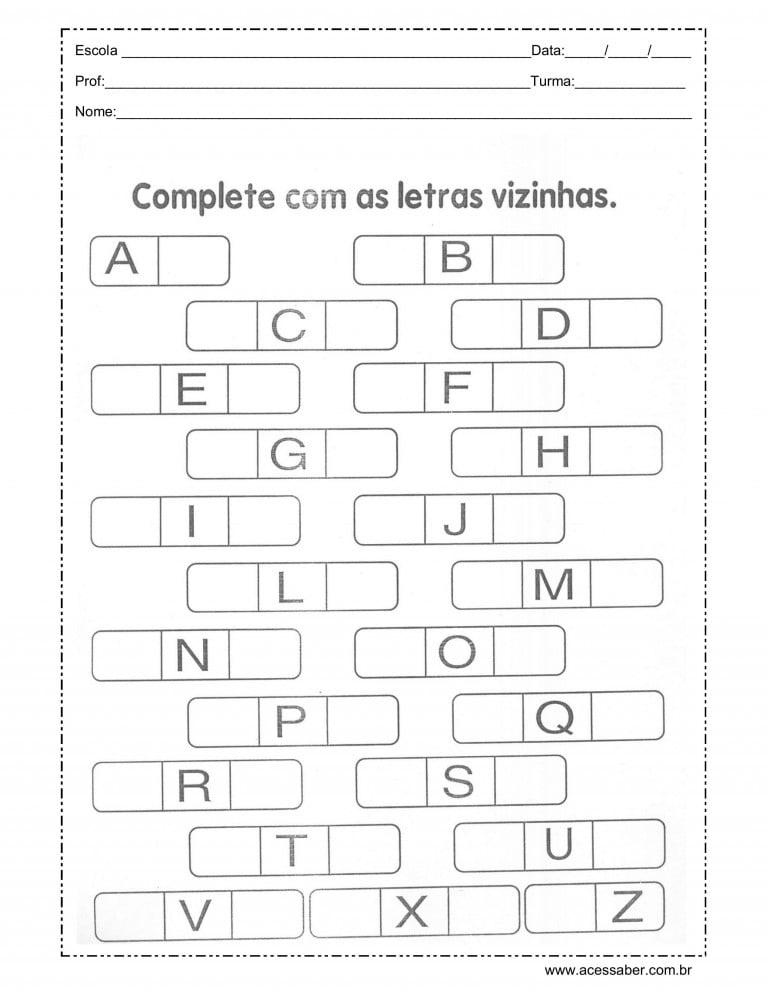 completar o alfabeto com as letras vizinhas