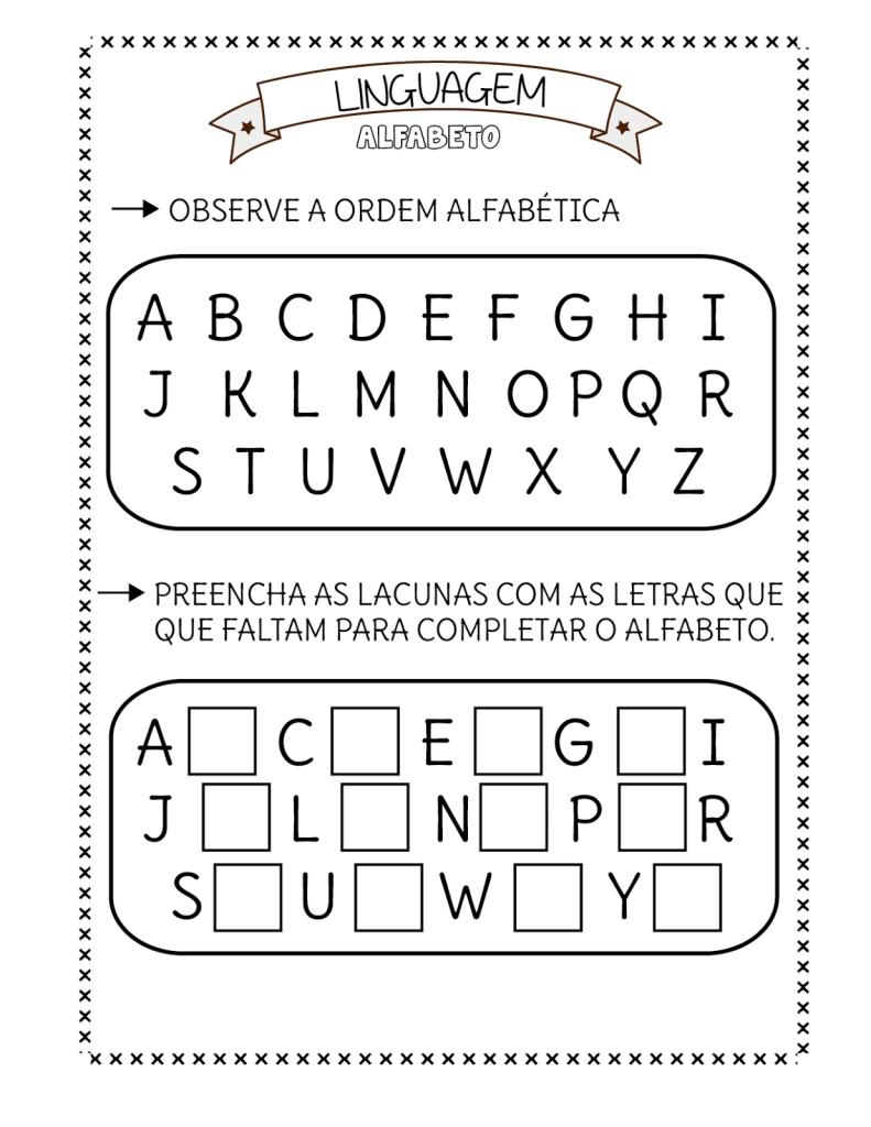 observe e complete o alfabeto