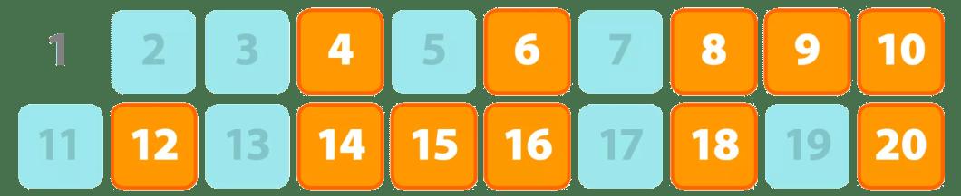 tabela 1 a 20